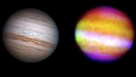 Vergleich Jupiter%2dBilder optisch und infrarot von SOFIA