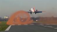 Visualisierung einer Wirbelschleppe des ATTAS am Forschungsflughafen