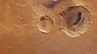 Colour plan view of the Danielson and Kalocsa craters in the Arabia Terra region