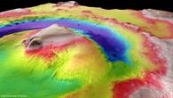 Gale Crater %2d Perspektivische farbkodierte Topographie