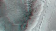Anaglyph of the scarp at the northern edge of Ius Chasma