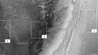 Nadir image of the northern scarp of Ius Chasma showing areas of interest