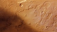Colour overhead view of the western edge of Acidalia Planitia