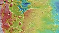 Aeolis Mensae %2d farbkodiertes Höhenmodell