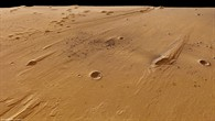 Oblique perspective view from east to west across the Ares Vallis outflow channel