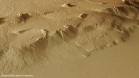 Perspective view of the steep slope on Olympus Mons
