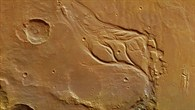 Colour plan view of Osuga Valles on Mars