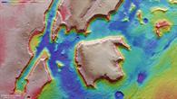 Falschfarbendarstellung der Topographie von Aeolis Mensae auf dem Mars