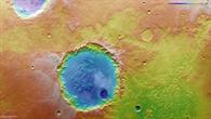 Falschfarbendarstellung der Topographie des Kraters in der Region Margaritifer Terra