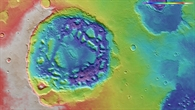 Falschfarbendarstellung der Topographie von Ismenia Patera