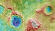 Falschfarbendarstellung der Topographie des Kraters