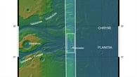 Topographische Übersichtskarte des Mündungsgebiets der Kasei Valles