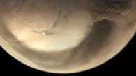 Staubsturms am Rande der Mars%2dNordpoleiskappe