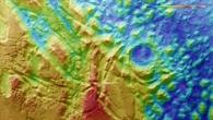 Topographische Bildkarte des südlichen Teils von Aurorae Chaos
