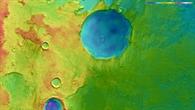Topographische Bildkarte eines Teils der Region Terra Cimmeria