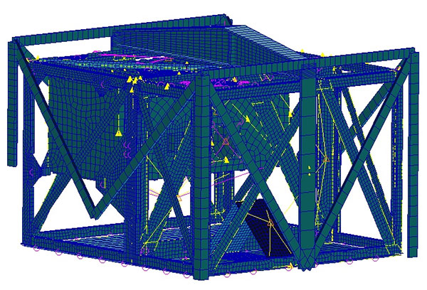Figure 1: Finite element calculation for the MASCOT lander and interface structure. The yellow lines and triangular points representpoint masses for the simplified simulation of the scientific instruments and the most critical, i.e. heaviest system components and their respective fastenings.<br />Credit: DLR (CC%2dBY 3.0).