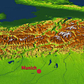 Elevation model of the Alps