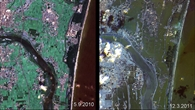 Tsunami%2dZerstörungen in Japan: Vorher%2dNachher%2dVergleich