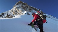 Gerlinde Kaltenbrunner auf dem Schneegrat