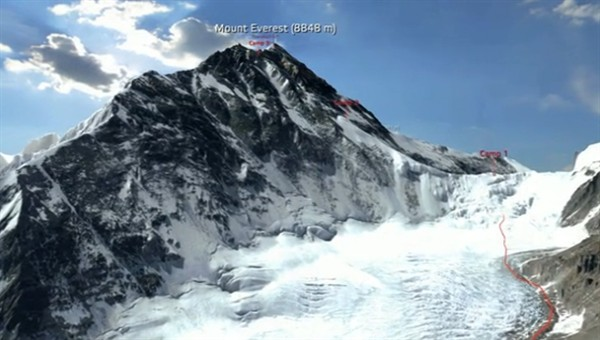 Animation Virtual Conquest Of A Summit Mount Everest In 3d