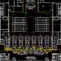 Simulation of an airport waiting area with adjoining passenger security checkpoint.