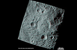 Anaglyph: landscape with craters (Source: NASA/JPL%2dCaltech/UCLA/MPS/DLR/IDA.)