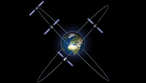 Das Bild zeigt alle vier Galileo In Orbit Validation-Satelliten auf ihren Umlaufbahnen. Die ersten beiden Satelliten sind am 21. Oktober 2011 ins All gebracht worden.