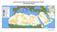 Die Karte Nordafrikas hilft, geeignete Regionen für Solarkraftwerke zu finden