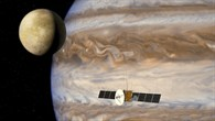 Künstlerische Darstellung der Mission JUICE (Jupiter Icy Moon Explorer) zum Jupiter und seinen 67 Monden