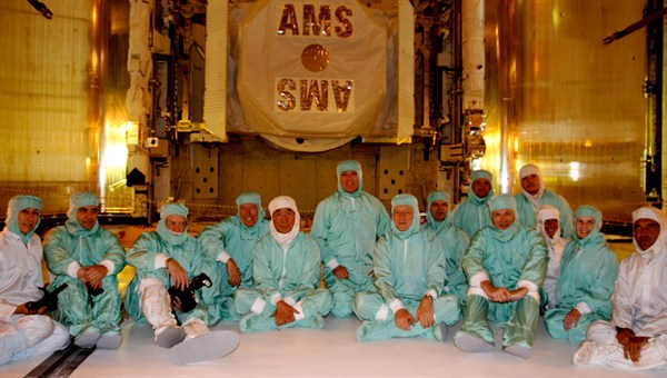 Members of the AMS team during preparations for the launch of AMS