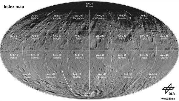 Overall view of Vesta showing the different map regions.