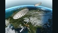 Die Tandem%2dL%2dSatelliten mit großen entfaltbaren Reflektorantennen im Formationsflug