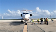 Halo auf dem Vorfeld auf Barbados