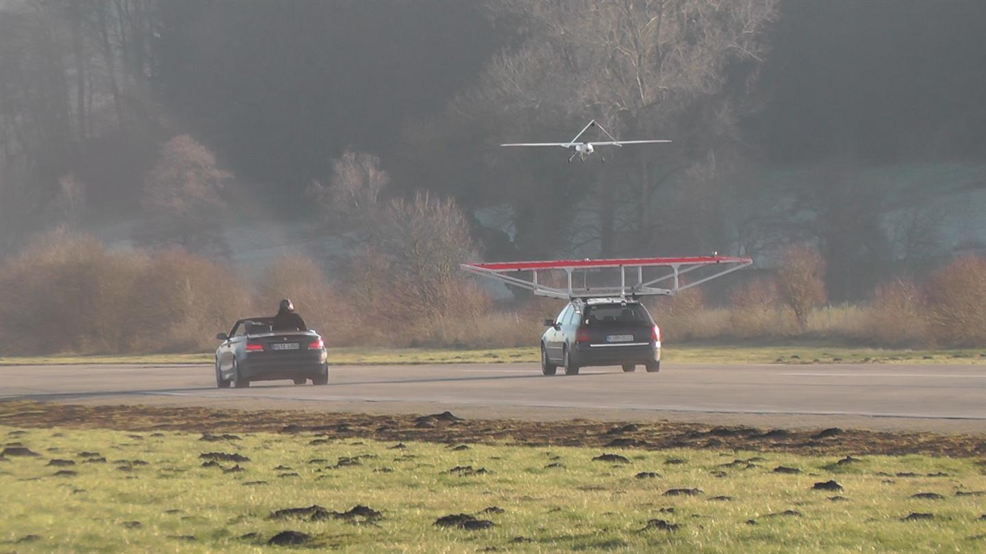 A team of researchers in Germany have landed an unmanned, electric-powered, autonomous aircraft on top of a car travelling at 75 km/h, something that hasn't been done before.