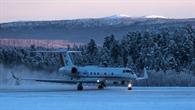 Das Forschungsflugzeug HALO im norwegischen Kiruna
