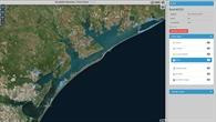 Gebiet Corpus Christi mit markierten Hochwasserflächen