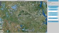 Überflutungsgebiet Houston mit markierten Hochwasserflächen