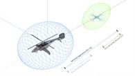 Virtuelle Darstellung der Sicherheitsabstände zweier Fluggeräte