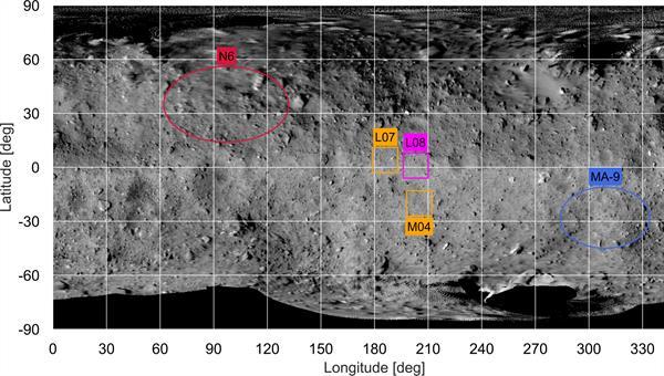 Landestellen der Hayabusa2-Mission auf dem Asteroiden Ryugu