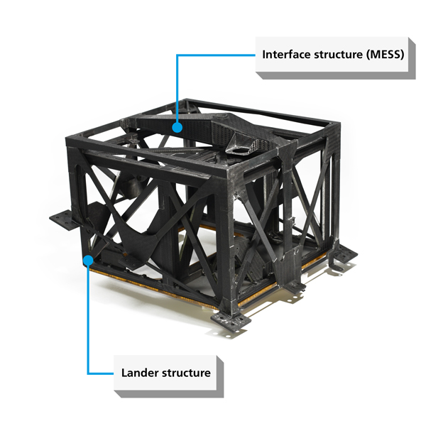 Figure 2: Flight unit for the interface structure (MESS), with the structure of the MASCOT lander inside it. Both structures are made of carbon fibre reinforced plastic and are ready for the subsequent installation of the instruments and various system components that will completely fill the interior.<br />Credit: DLR (CC%2dBY 3.0).