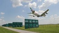 Auch die Wirbelschleppen des riesigen A380 werden durch die Platten geschwächt