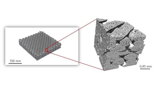 Mikrostruktur einer 3D%2dgedruckten SiC%2dKeramik