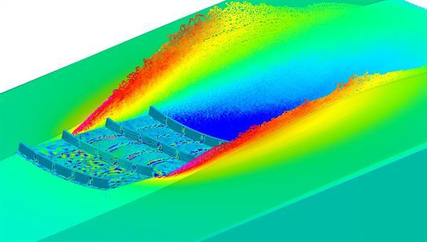 Simulation eines generisches Flugzeugpaneels beim Wasseraufschlag