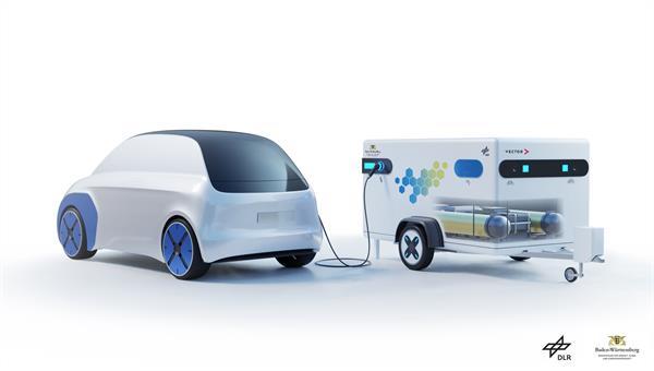 Ein mobiler Ladeanhänger mit Brennstoffzelle für E%2dFahrzeuge