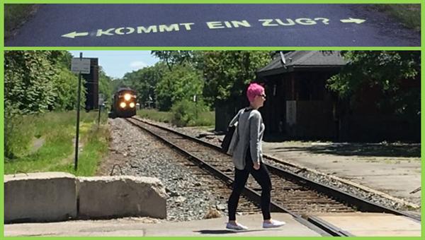 Wie können wir mit einfachen Maßnahmen sicheres Verhalten am Bahnübergang unterstützen? (Bilder: Grippenkoven/DLR, Lupton/CBC)