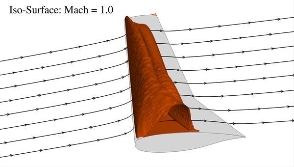 Stromlinien und Überschallgebiet an einem Laminarflügel