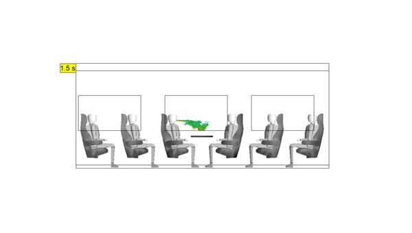 Numerische Simulation der Ausatmung (Husten) von Aerosolen in einem Segment eines Fernverkehrszugs