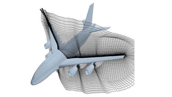Rechengitter um eine Flugzeugkonfiguration