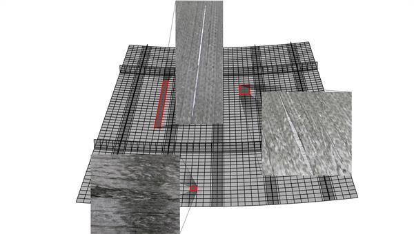 Berechnungsmodell eines Flugzeug%2dPaneel mit Materialabweichungen