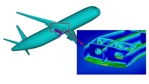 Flugzeug%2dStrukturmodell mit beispielhafter Spannungsverteilung des Flügelkastens